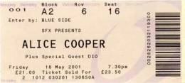 Ticket stub - Brian May live at the Wembley Arena, London, UK (with Alice Cooper) [18.05.2001]
