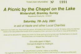 Ticket stub - Roger Taylor live at the Wintershall Estate, Bramley, Surrey, UK (Picnic & charity concert with Gary Brooker's all-star band 'Band Du Lac' featuring Eric Clapton, Bob Geldof and others) [07.07.2001]