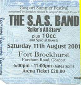 Ticket stub - Roger Taylor live at the Fort Brockhurst, Gosport, UK (with SAS Band) [11.08.2001]