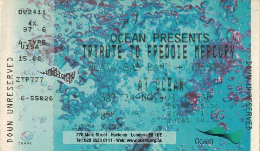 Ticket stub - Brian May + Roger Taylor live at the Ocean club, London, UK (with SAS Band and special guests) [24.11.2001]