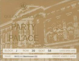Ticket stub - Brian May + Roger Taylor live at the Buckingham Palace, London, UK (Queen's Jubilee) [03.06.2002]