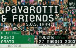 Ticket stub - Brian May + Roger Taylor live at the Parco Novi Sad, Modena, Italy (Pavarotti & Friends) [27.05.2003]