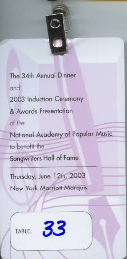 Ticket stub - Brian May + Roger Taylor live at the Marriott Marquis Hotel, New York, NY, USA (Songwriters Hall Of Fame) [12.06.2003]