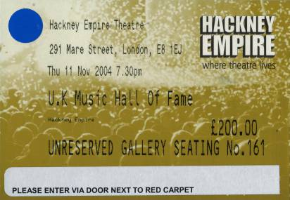 Ticket stub - Queen + Paul Rodgers live at the Hackney Empire, London, UK (Hall Of Fame induction) [11.11.2004]