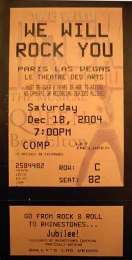 Ticket stub - Brian May live at the Paris, Las Vegas, NV, USA (WWRY musical) [18.12.2004]