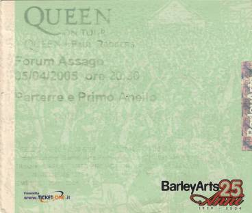 Ticket stub - Queen + Paul Rodgers live at the Forum, Milan, Italy [05.04.2005]