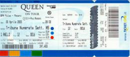 Ticket stub - Queen + Paul Rodgers live at the BPA Palas, Pesaro, Italy [08.04.2005]