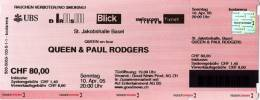 Ticket stub - Queen + Paul Rodgers live at the St. Jakobshalle, Basel, Switzerland [10.04.2005]