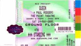 Ticket stub - Queen + Paul Rodgers live at the The Point, Dublin, Ireland [14.05.2005]