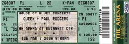 Ticket stub - Queen + Paul Rodgers live at the Gwinett Center, Duluth, GA, USA [07.03.2006]