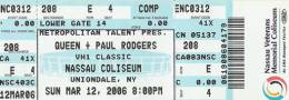 Ticket stub - Queen + Paul Rodgers live at the Nassau Coliseum, Uniondale, Long Island, NY, USA [12.03.2006]