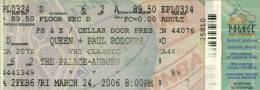 Ticket stub - Queen + Paul Rodgers live at the Palace of Auburn Hills, Auburn Hills, MI, USA [24.03.2006]