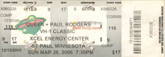 Ticket stub - Queen + Paul Rodgers live at the Xcel Energy Center, St. Paul, MN, USA [26.03.2006]