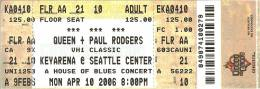 Ticket stub - Queen + Paul Rodgers live at the Key Arena, Seattle, WA, USA [10.04.2006]
