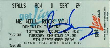 Ticket stub - Brian May + Roger Taylor live at the Dominion Theatre, London, UK (WWRY musical - Freddie's 60th birthday party) [05.09.2006]