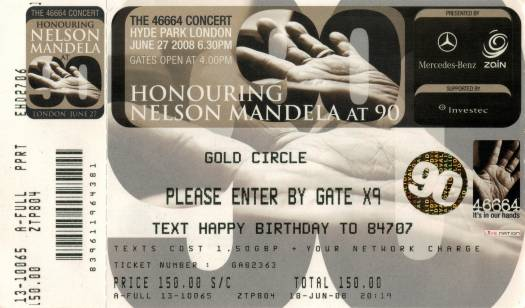 Ticket stub - Brian May live at the Hyde Park, London, UK (46664 - Nelson Mandela 90th birthday) [27.06.2008]