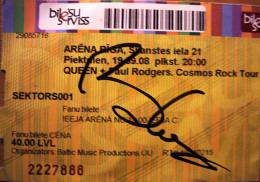 Ticket stub - Queen + Paul Rodgers live at the Arena, Riga, Latvia [19.09.2008]