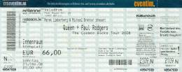 Ticket stub - Queen + Paul Rodgers live at the Velodrom, Berlin, Germany [21.09.2008]