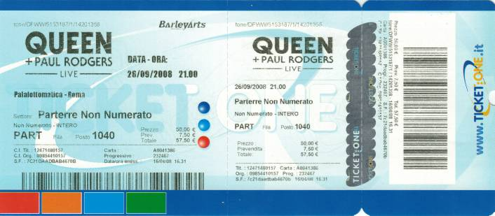 Ticket stub - Queen + Paul Rodgers live at the Palalottomatica, Rome, Italy [26.09.2008]