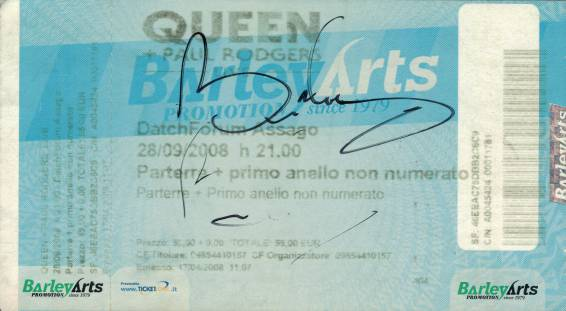 Ticket stub - Queen + Paul Rodgers live at the Datch Forum di Assago, Milan, Italy [28.09.2008]