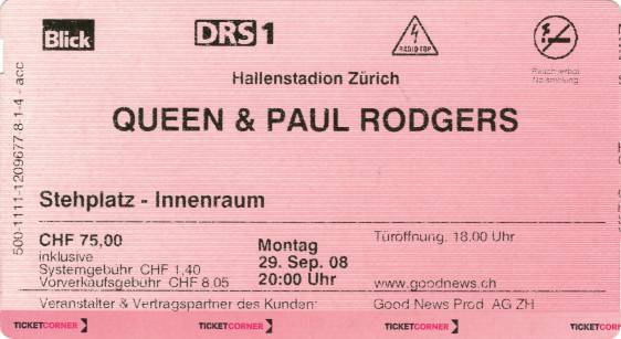 Ticket stub - Queen + Paul Rodgers live at the Hallenstadion, Zurich, Switzerland [29.09.2008]