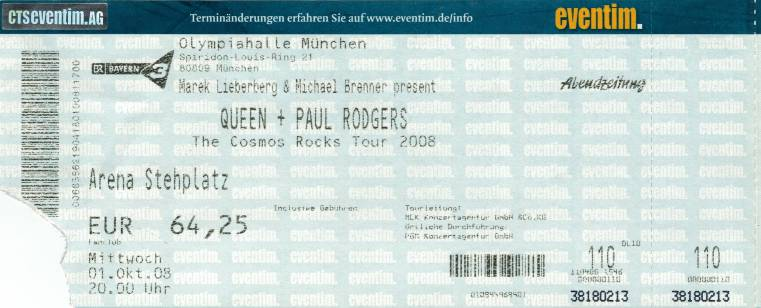 Ticket stub - Queen + Paul Rodgers live at the Olympiahalle, Munich, Germany [01.10.2008]