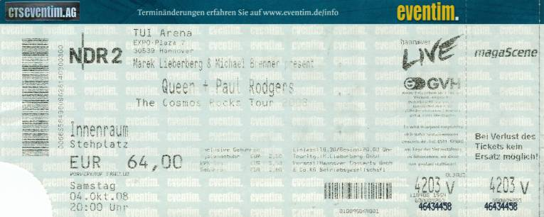 Ticket stub - Queen + Paul Rodgers live at the TUI Arena, Hanover, Germany [04.10.2008]