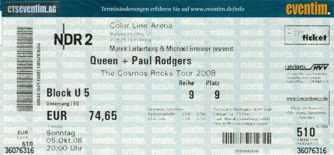 Ticket stub - Queen + Paul Rodgers live at the Color Line Arena, Hamburg, Germany [05.10.2008]