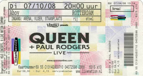 Ticket stub - Queen + Paul Rodgers live at the Ahoy, Rotterdam, The Netherlands [07.10.2008]