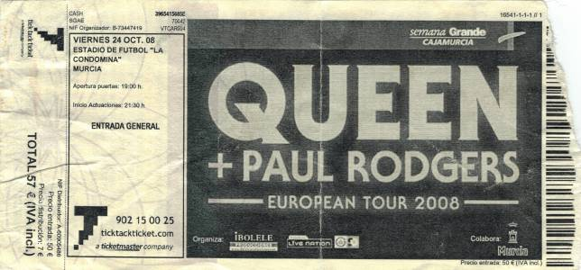 Ticket stub - Queen + Paul Rodgers live at the Estadio Municipal, Murcia, Spain [24.10.2008]