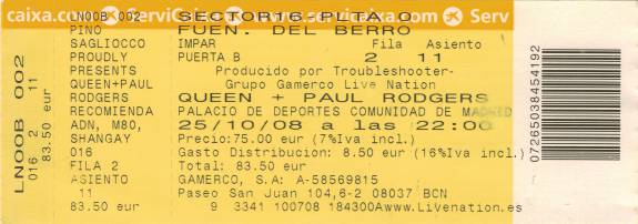 Ticket stub - Queen + Paul Rodgers live at the Palacio De Deportes, Madrid, Spain [25.10.2008]