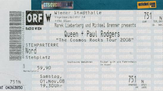 Ticket stub - Queen + Paul Rodgers live at the Stadthalle, Vienna, Austria [01.11.2008]