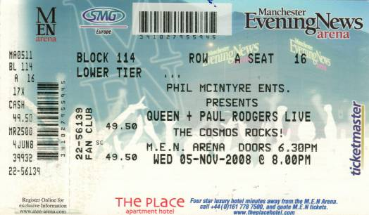 Ticket stub - Queen + Paul Rodgers live at the MEN Arena, Manchester, UK [05.11.2008]