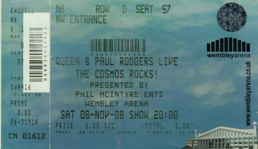 Ticket stub - Queen + Paul Rodgers live at the Wembley Arena, London, UK [08.11.2008]