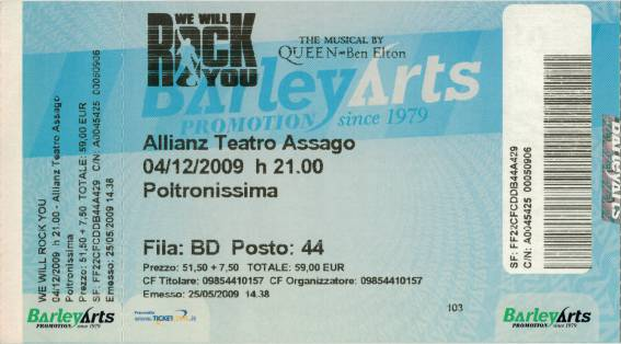 Ticket stub - Brian May live at the Allianz Teatro, Milan, Italy (WWRY musical premiere) [04.12.2009]