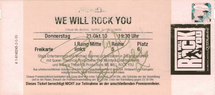 Ticket stub - Brian May live at the Theater des Westens, Berlin, Germany (WWRY musical premiere) [21.10.2010]