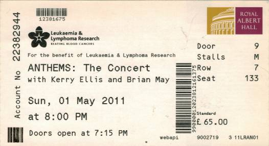 Ticket stub - Brian May live at the Royal Albert Hall, London, UK (2nd gig) [01.05.2011]