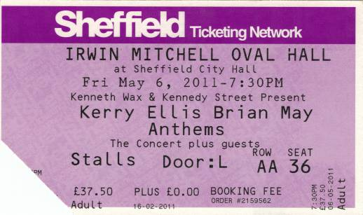 Ticket stub - Brian May live at the City Hall, Sheffield, UK [06.05.2011]