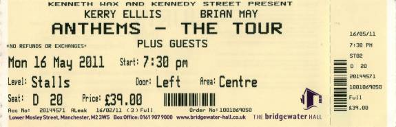 Ticket stub - Brian May live at the Bridgewater Hall, Manchester, UK [16.05.2011]