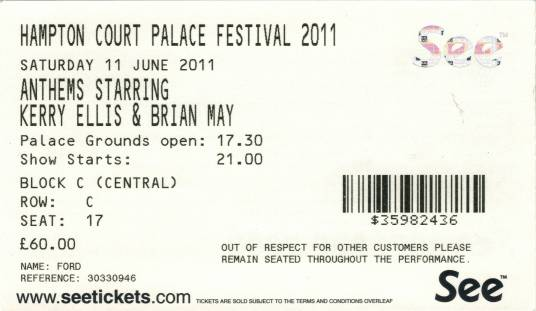 Ticket stub - Brian May live at the Court Palace, Hampton, UK [11.06.2011]