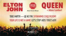 Ticket stub - Queen + Adam Lambert live at the Maidan Nezalezhnosti, Kiev, Ukraine [30.06.2012]