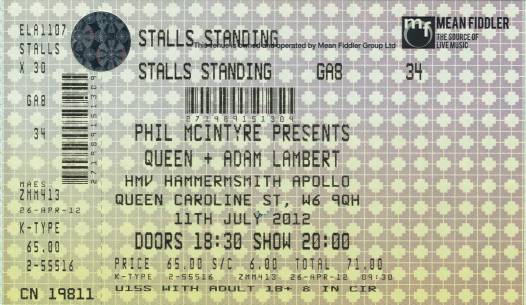 Ticket stub - Queen + Adam Lambert live at the Hammersmith Apollo, London, UK [11.07.2012]