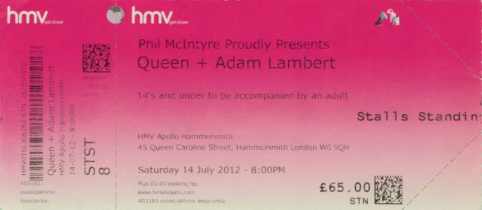 Ticket stub - Queen + Adam Lambert live at the Hammersmith Apollo, London, UK [14.07.2012]