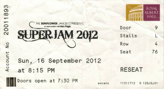 Ticket stub - Brian May live at the Royal Albert Hall, London, UK (The Sunflower Jam) [16.09.2012]