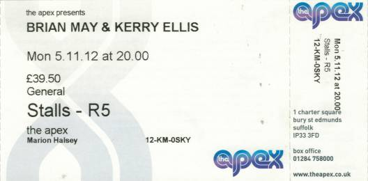 Ticket stub - Brian May live at the The Apex, Bury St Edmunds, UK [05.11.2012]