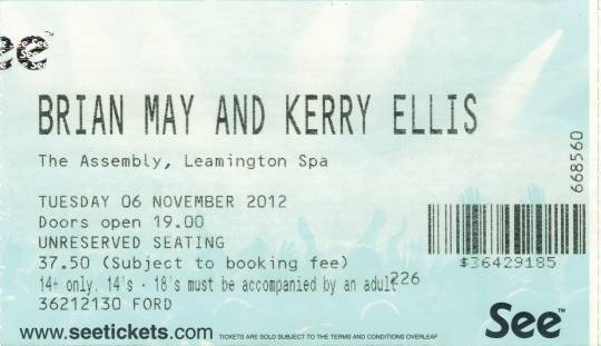 Ticket stub - Brian May live at the The Assembly, Leamington Spa, UK [06.11.2012]