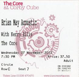 Ticket stub - Brian May live at the The Core at Corby Cube, Corby, UK [07.11.2012]