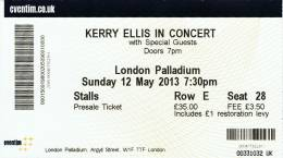 Ticket stub - Brian May live at the Palladium, London, UK (with Kerry Ellis) [12.05.2013]