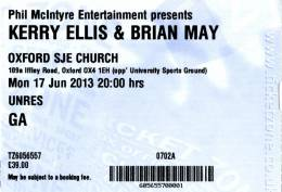 Ticket stub - Brian May live at the St John Evangelist Church, Oxford, UK [17.06.2013]