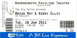 Ticket stub - Brian May live at the Pavilion Theatre, Bournemouth, UK [18.06.2013]